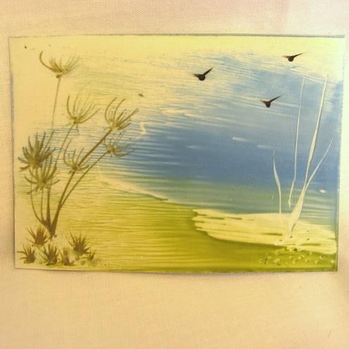 ACEO - original encaustic art - wax painting. Lonely Shore.