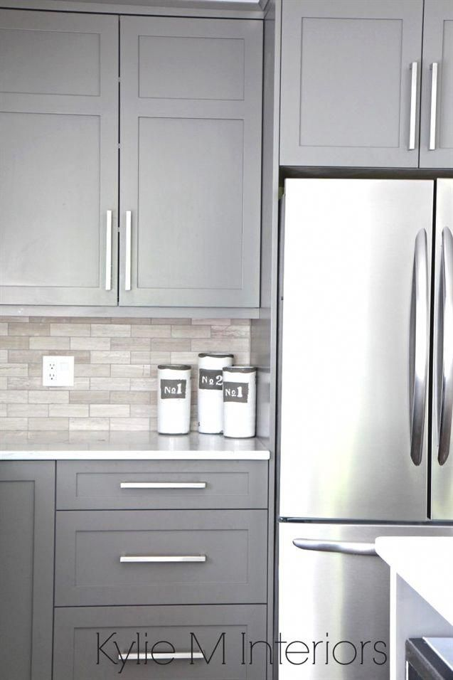 Kitchen Cabinets Painted Benjamin Moore Amherst Gray Driftwood Marble Backsplash With Stainless Grey Painted Kitchen New Kitchen Cabinets Diy Kitchen Cabinets