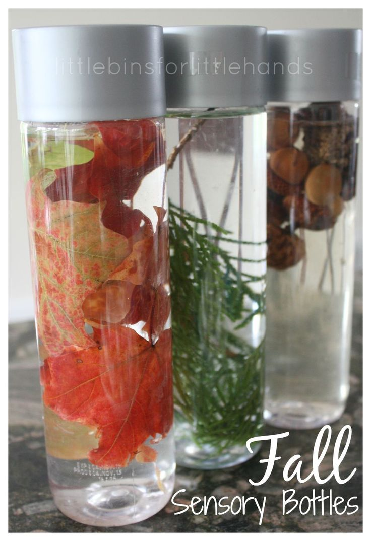 Fall Sensory Bottles for Exploring Nature. Simple science for young kids. Great fine motor practice. Fall theme activity. Explore outdoors and take a nature walk.
