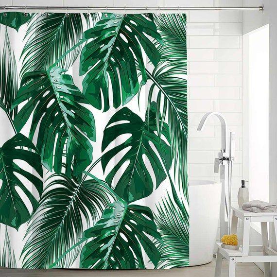 Tropical Leaf Shower Curtain For Bathroom Waterproof Polyester Fiber Animal Shower Curtains Art Bath Curtain Home Window Toilets Landscape Tropical Home Decor