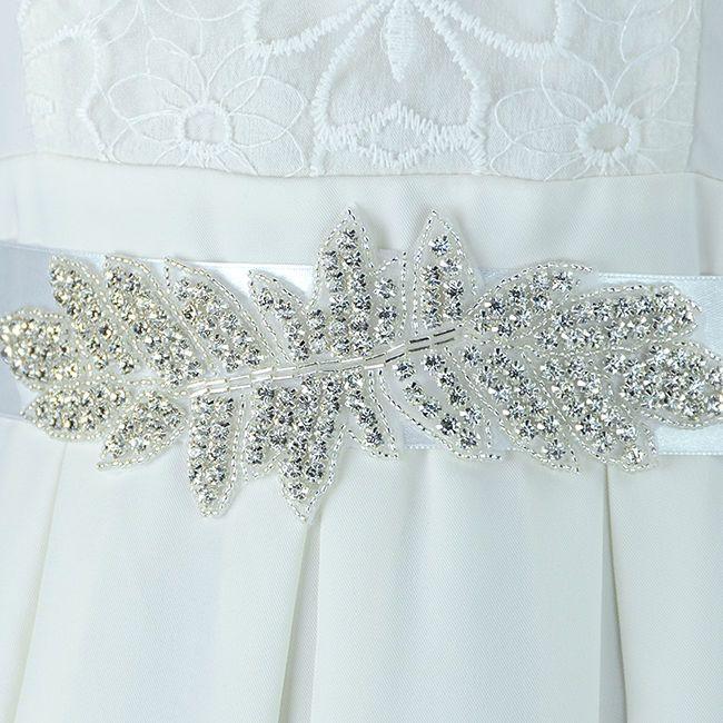 1x White Clear Rhinestone Partty Ribbon Wedding Costume Dress DIY Decor Belt New