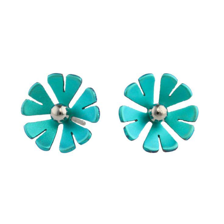 Ti2 Titanium 8mm Four Petal Polished Bead Flower Stud Earrings - Ca xUVPWYQbo