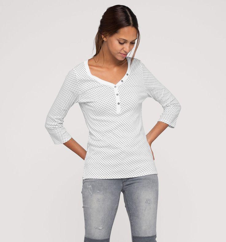 Sklep internetowy C&A   Koszula Henley, kolor:  biały / czarny   Dobra jakość w niskiej cenie