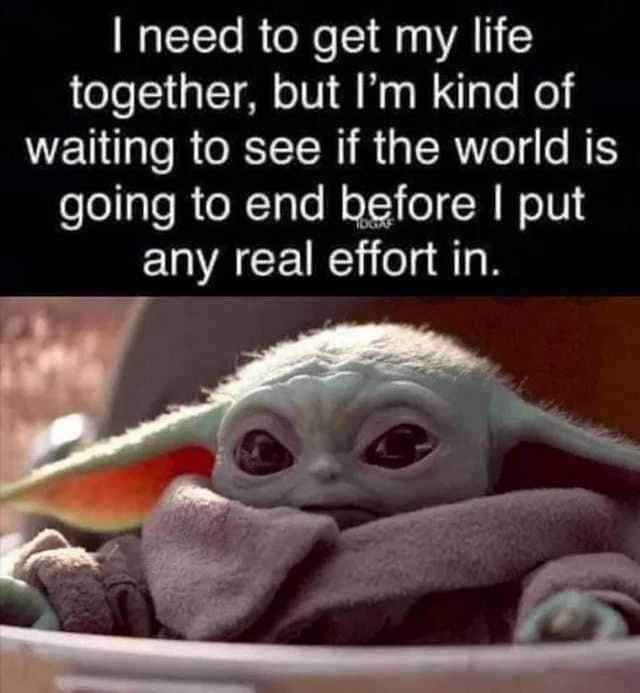 Baby Yoda World End In 2021 Yoda Funny Haha Funny Funny Laugh