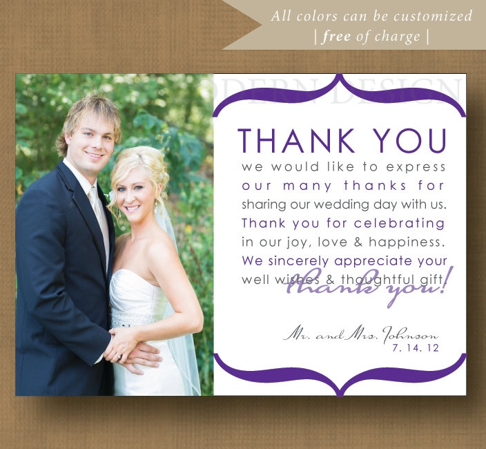 Printable Wedding Thank You Card Custom Colors 4 X 6 Digital File Diy 15 00 Via Etsy