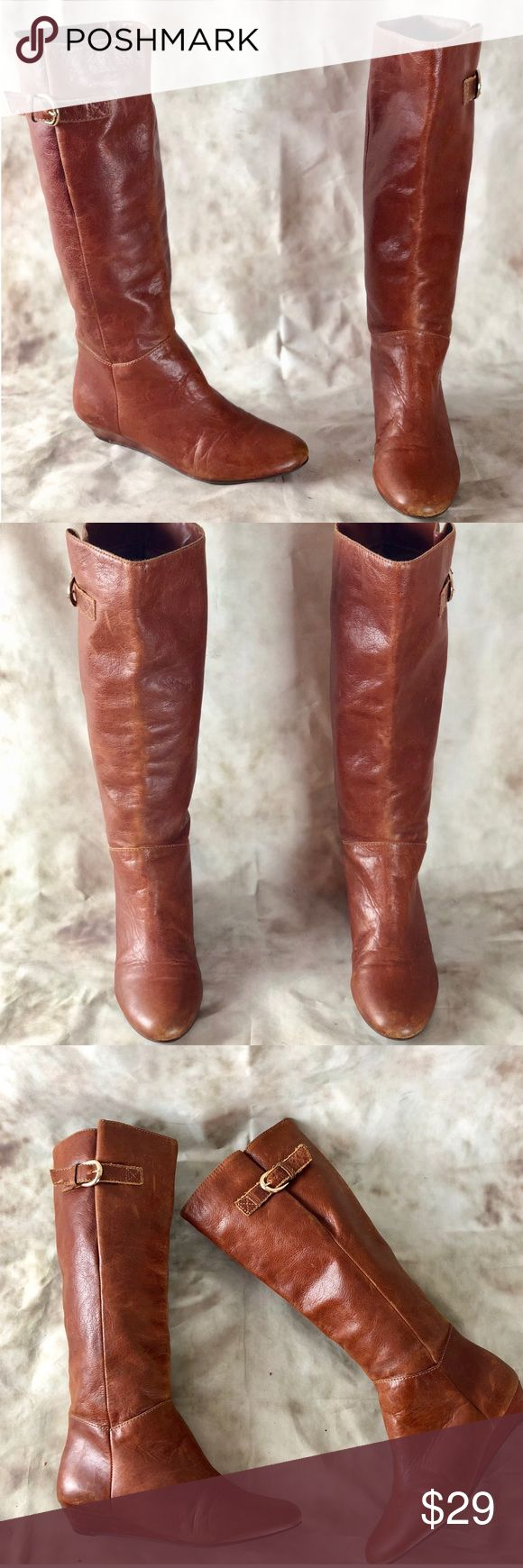 "Steve Madden ""Intyce"" Cognac Wedge Boots Pre owned, but plenty of wear left! Classic Steve Madden boots in Cognac! Slight wedge, faux leather upper. Boot shows signs at the front and at the back heel of boots (please refer to photos) Steve Madden Shoes Over the Knee Boots"