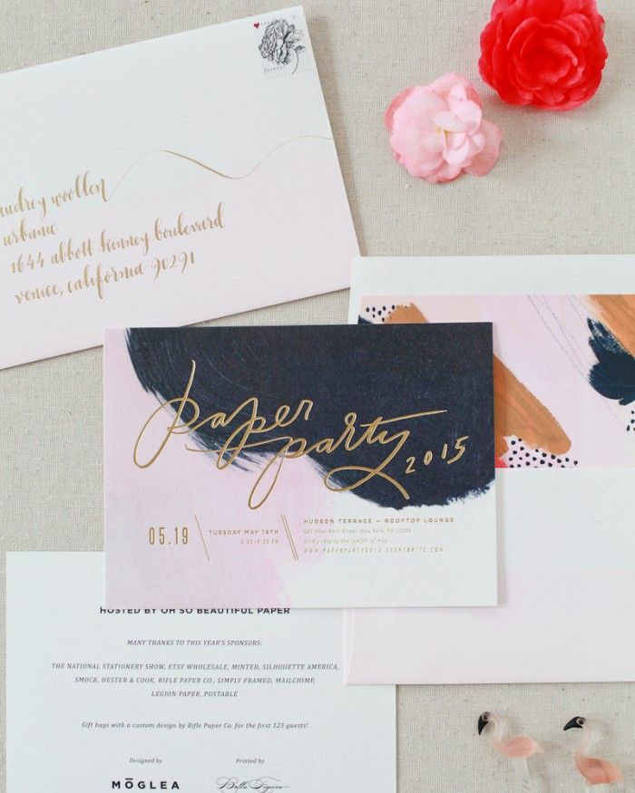 how to start my own invitation printing business%0A Oh So Beautiful Paper  Hand Painted Invitations with Matte Gold Foil for  Paper Party        Design  Moglea   Printing  Bella Figura   Envelope  Calligraphy