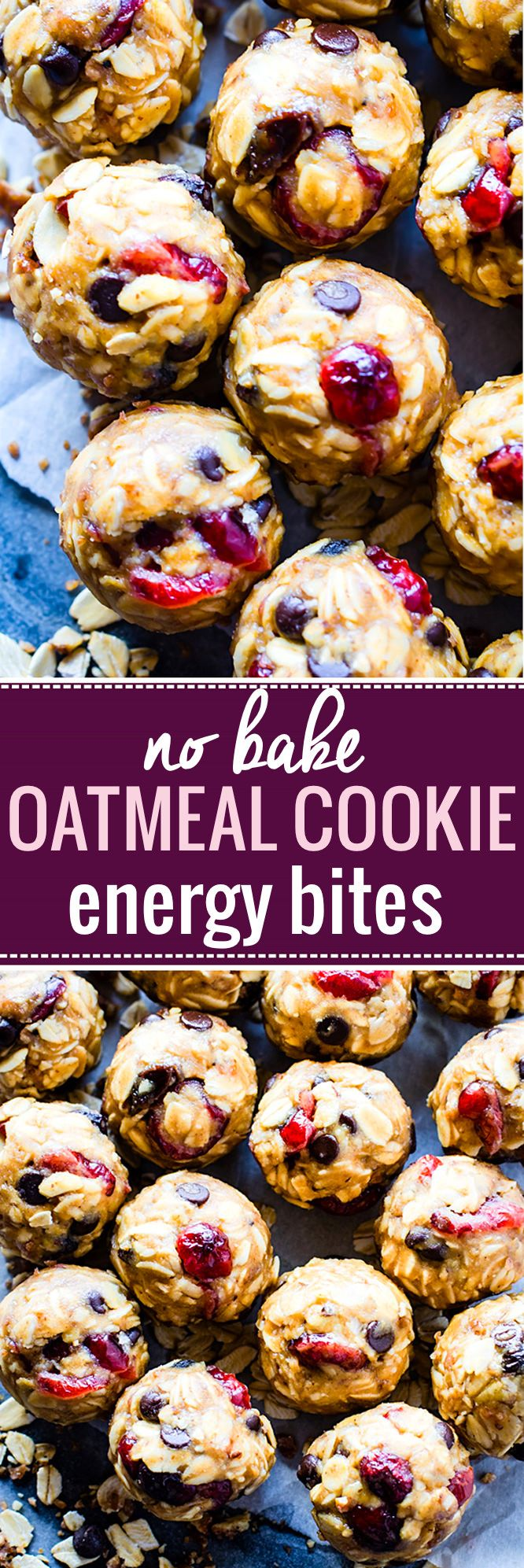 No Bake Loaded Oatmeal Cookie Energy Bites {Gluten Free}. All clean eating ingredients are used for this healthy energy bite recipe. Pin now to make this healthy snack later.