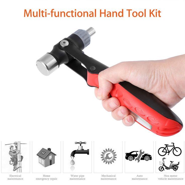 Multi-Function Hand Ratcheting Screwdriver Socket Wrench Hammer Car Repair Tool