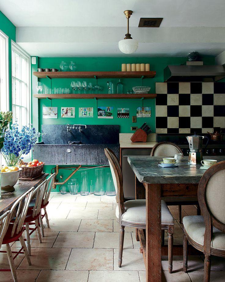emerald kitchen walls