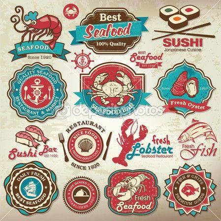 Coleção de rótulos de restaurante de frutos do mar vintage retrô grunge, emblemas e ícones — Ilustração de Stock #25281847