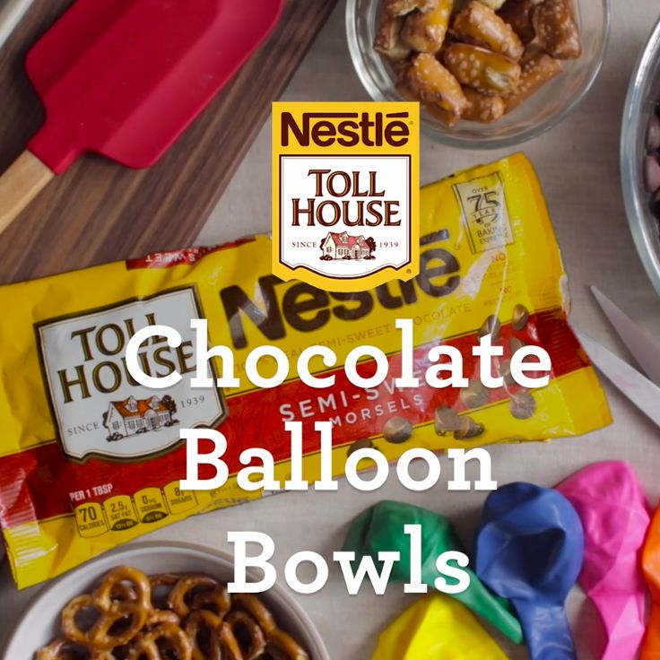 Make your own simple Chocolate Balloon Bowl - the perfect serving dish, and fun too! All you need is melted Toll House Chocolate Chips and a balloon to make this easy DIY chocolate serving bowl. Everyone at the party will love it!