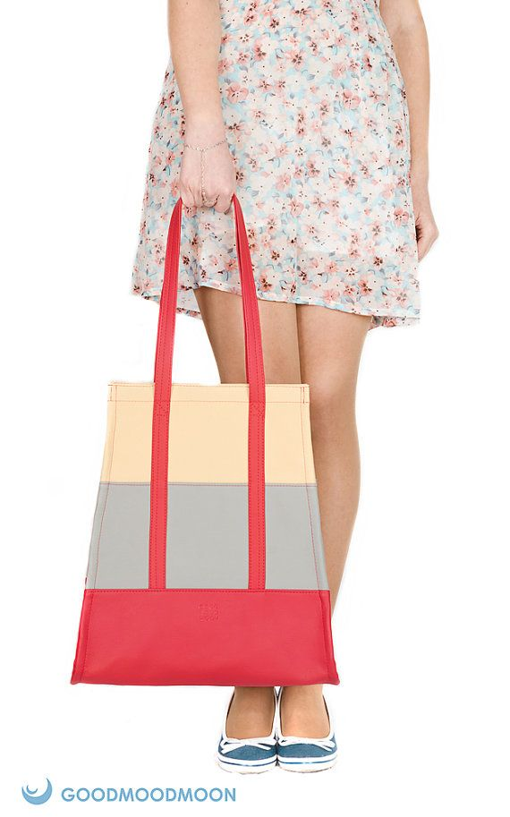 Red tote bag Lucky Alice grey beige vegan leather by GoodMoodMoon, $55.00