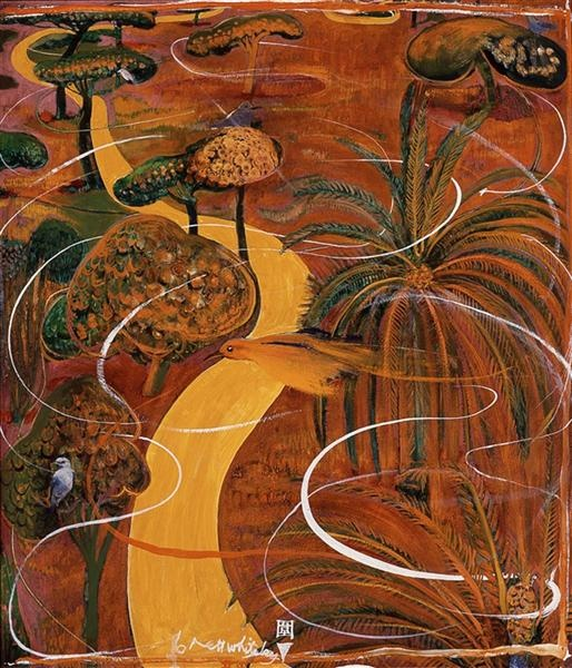 Brett Whiteley, Wei, 1979 oil and collage on board 90.0 x 68.0 cm