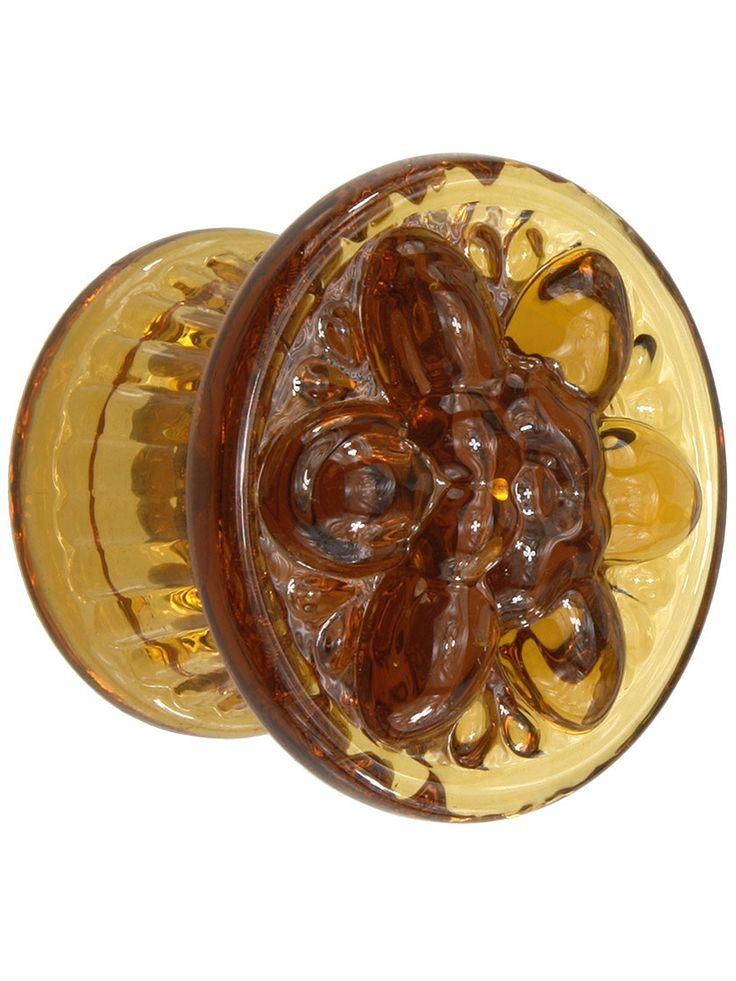 Glass Pulls and Knobs. Large Pressed Glass Dresser Knob With Flower Design
