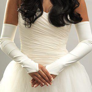 White and Gold Wedding. Opera Length Long Wedding Gloves. White Fingerless Opera Lenth Bridal Wedding Gloves