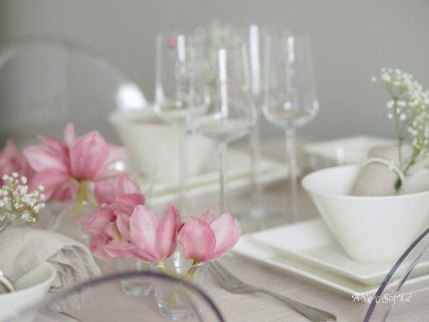 tulips in shot glas vases