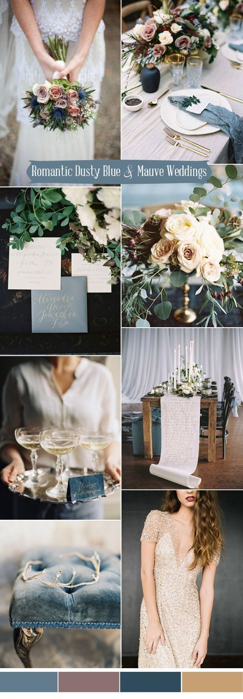 romantic dusty blue,mauve and gold wedding ideas