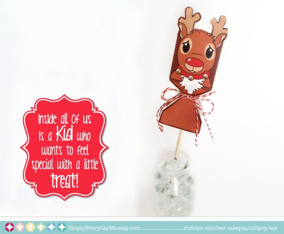 Christmas Reindeer Cake Pop/Lollipop Printable DIY Box. Perfect for giving a little sweet something to someone special. Comes in 3 different sizes - large, medium & small. $7.99