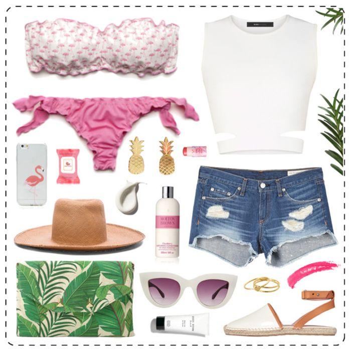 Let the summer begin! Shorts in denim, top bianco, clutch tropicale e il nostro bikini Flamingo con fascia imbottita e brasiliana regolabile! #paradisebeachwear #summer #loom #outfit #ootd #polyvore #fashionset #fashionista