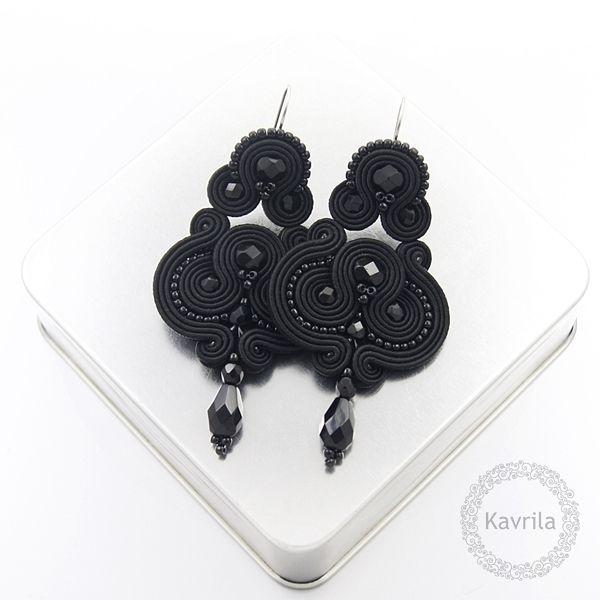 Lirite black soutache - kolczyki czarne sutasz KAVRILA #sutasz #kolczyki #wieczorowe #rękodzieło #soutache #handmade #earrings #night #black #kavrila