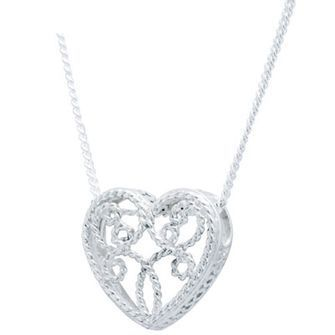 Romantic Sterling Silver Filigree Heart - BEE-34986