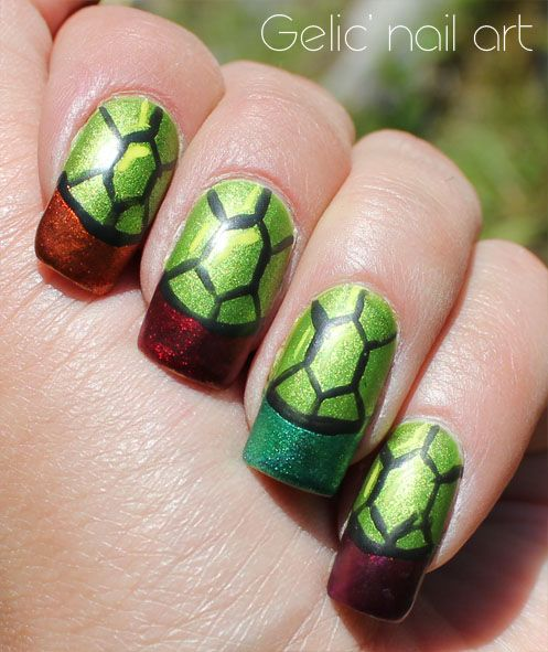 Gelic' nail art: NCC presents: simple Teenage Mutant Ninja Turtles nail art (June theme)