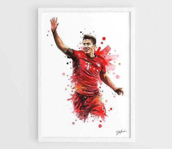 Robert Lewandowski Bayern München  A3 Wall Art Print door NazarArt