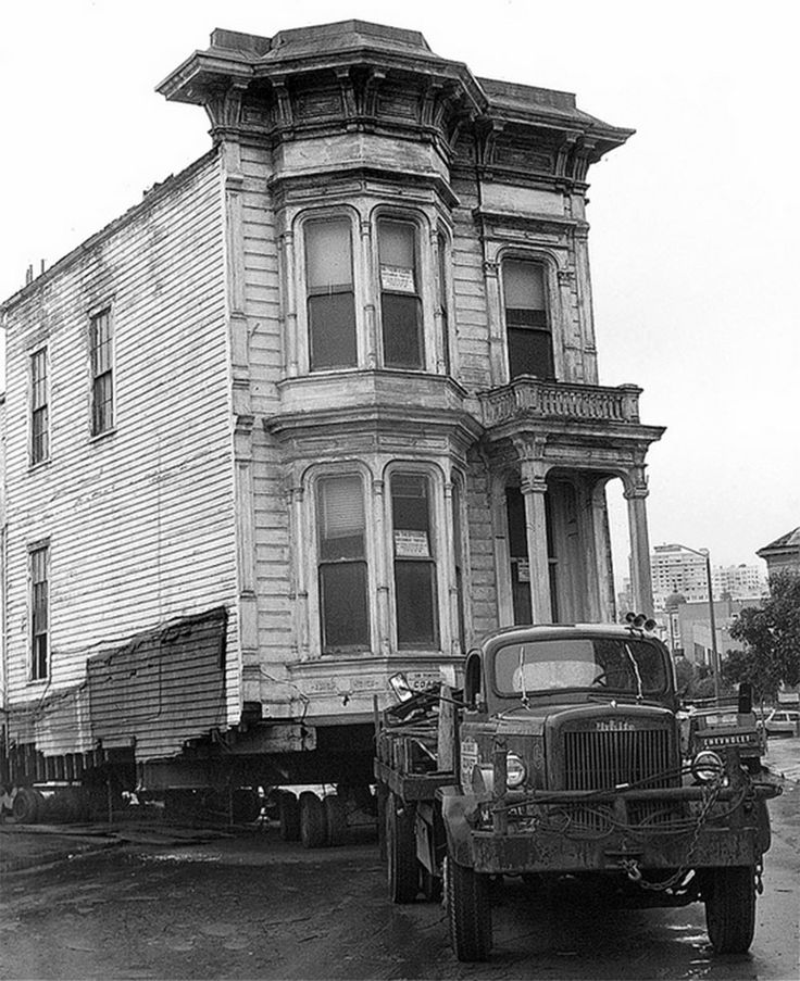 SAN FRANCISCO | CALIFORNIA | USA: *In the 1970's, San Francisco's Victorian buildings were demolished or towed away like illegally parked cars to make way for freeways, wider streets, and sterile public housing tower blocks* Photo: via Dave Glass
