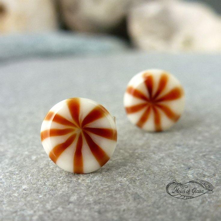 amber starburst murrini stud earrings ~ handmade lampwork glass by MaidofGlass.co.uk