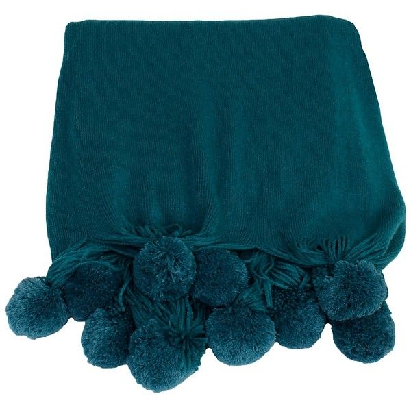 Teal Plush Pom Throw ($45) ❤ liked on Polyvore featuring home, bed & bath, bedding, blankets, oversized blankets, fringed throws, knit throw, plush throw and teal bedding
