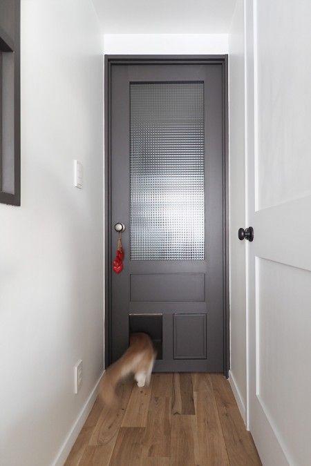 猫ために秘密の出入り口を設けたリビングドア