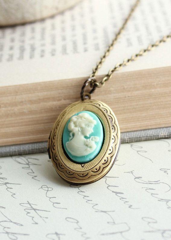 Oval Locket Necklace, Aqua Blue Cameo Pendant