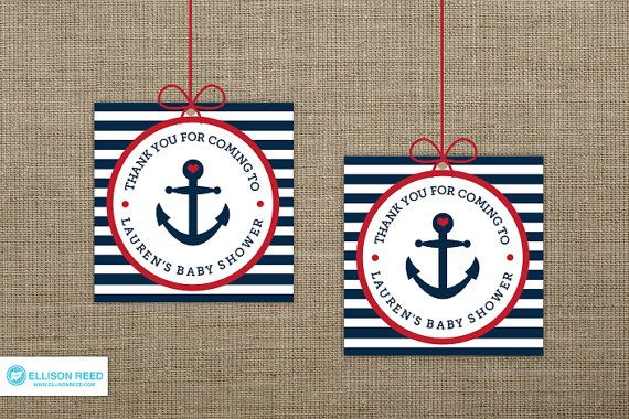 nautical baby shower ideas | Nautical Baby Shower Favor Tag - Anchor - Printable Party - Baby ...