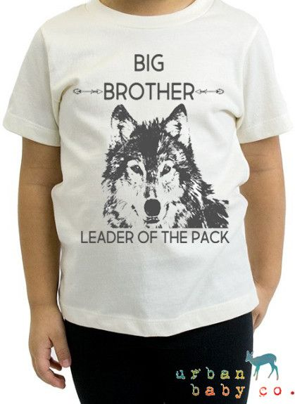 Big Brother, Wolf, Leader of the Pack, Pregnancy Announcement, Boho, Hippie, Baby, Boy, Toddler, Organic, Outfit, Tee, T-Shirt, Top, TShirt