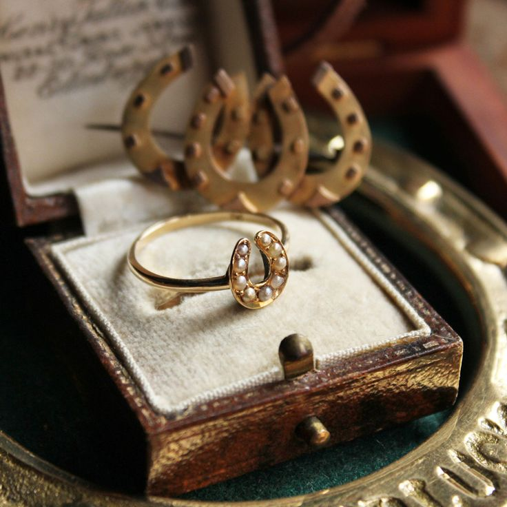 Victorian Antique Seed Pearl & 9ct Horse Shoe Ring (Gold) /ヴィクトリアン・アンティーク・ホースシューリング