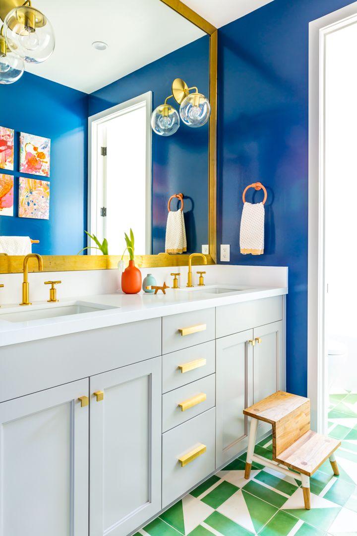 Color Filled Bathroom Green Ceramic Tile Bright Blue Walls Soft Gray Vanity Black Lacquer Design Boys Bathroom Decor Bathroom Colors Green Bathroom
