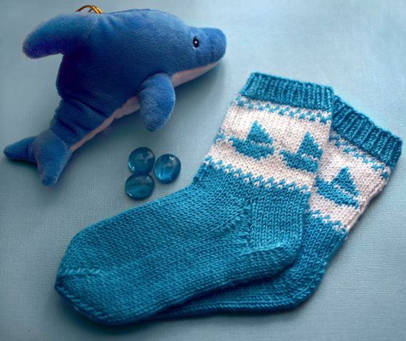 Knitting blue socks for children marine theme/knit wool sox with sailing ships/baby socks with a marine pattern