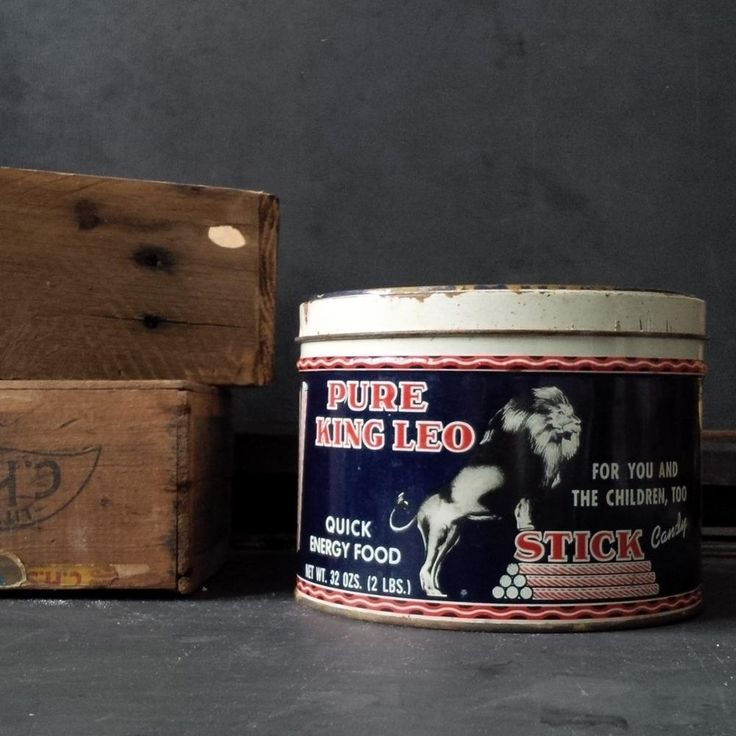 Vintage 1950s Candy Tin - Pure King Leo Stick Candy for Quick Energy -n made by Standard Candy Company - Nashville