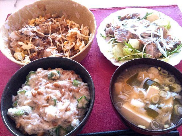 *オクラ、エノキ、長芋の納豆ごはん *カツオのカルパッチョ *豆腐チャンプルお好み焼き風 *豆腐とわかめの味噌汁 - 3件のもぐもぐ - 授乳中 by sub