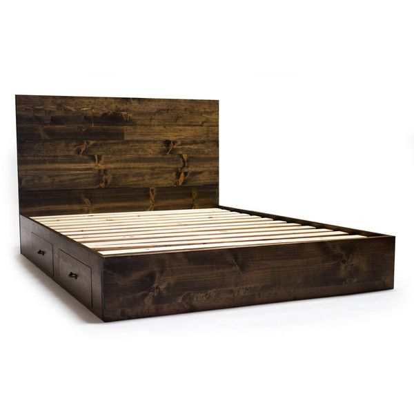platform bed frame with drawers and headboard set modern rustic 2 liked on king size