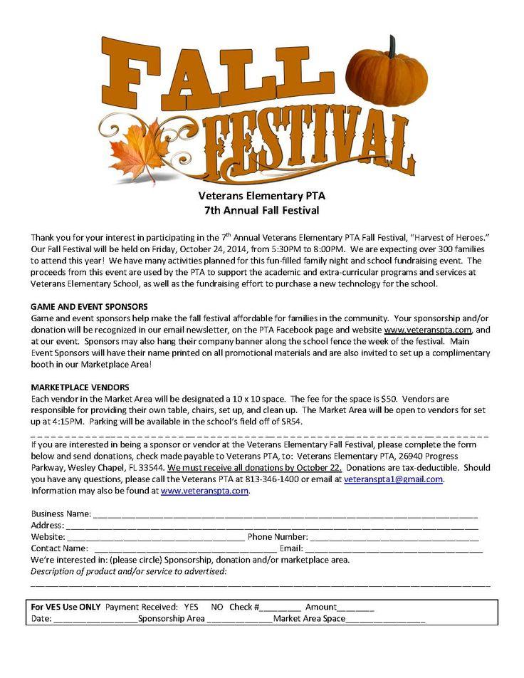 Fall Fest sponsor-vendor sign-up form 2014-2