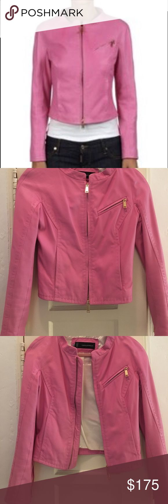Gorgeous pink leather jacket by DSQUARED2 Beautiful calf skin leather jacket. Pink with pink stitching and white lining. Made in Romania. A stunning spring/summer statement piece. In great condition. DSQUARED Jackets & Coats