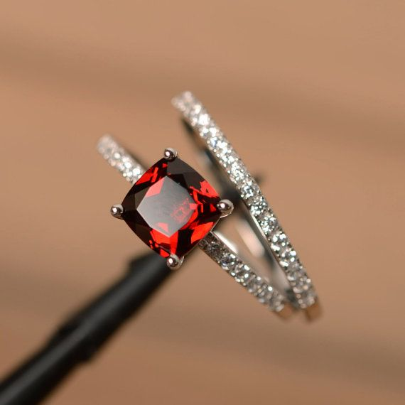 Garnet engagement rings cushion cut promise ring red by godjewelry