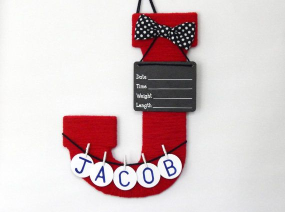 Baby boy hospital door hanger letter J by LauraLizzies on Etsy