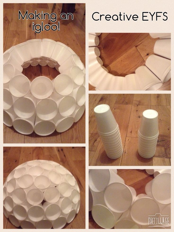 home made igloo made out of polystyrene cups   u2026