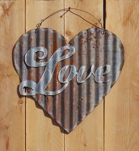Up-cycled Corrugated Metal Heart with Love