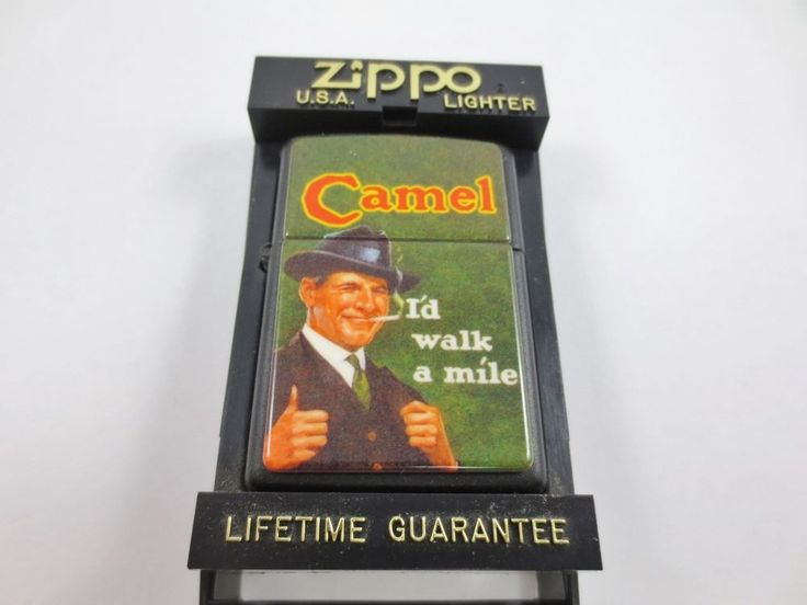ZIPPO USA CAMEL Cigarette Lighter New Old Stock w Case BLACK 'ID WALK A MILE'
