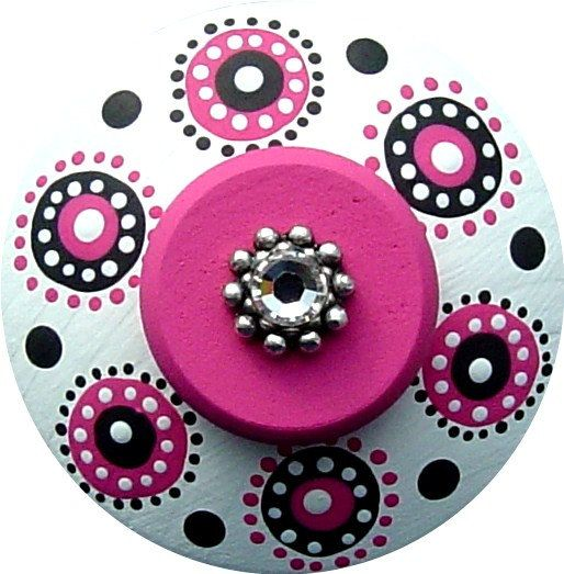 Black White and Hot Pink Polka Dots - Color ideas for handpainted children's furniture in little girls room