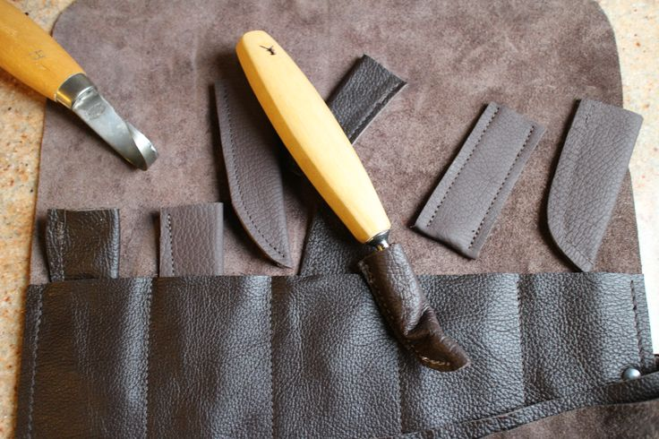 A spoon carvers leather tool roll with blade covers - I often sell these in my online shop...Bucklehurst Leather.